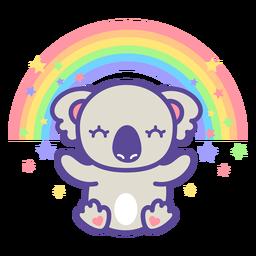 Cute koala and rainbow