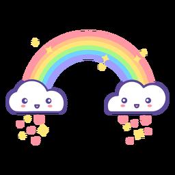 Cute clouds and rainbow raining hearts