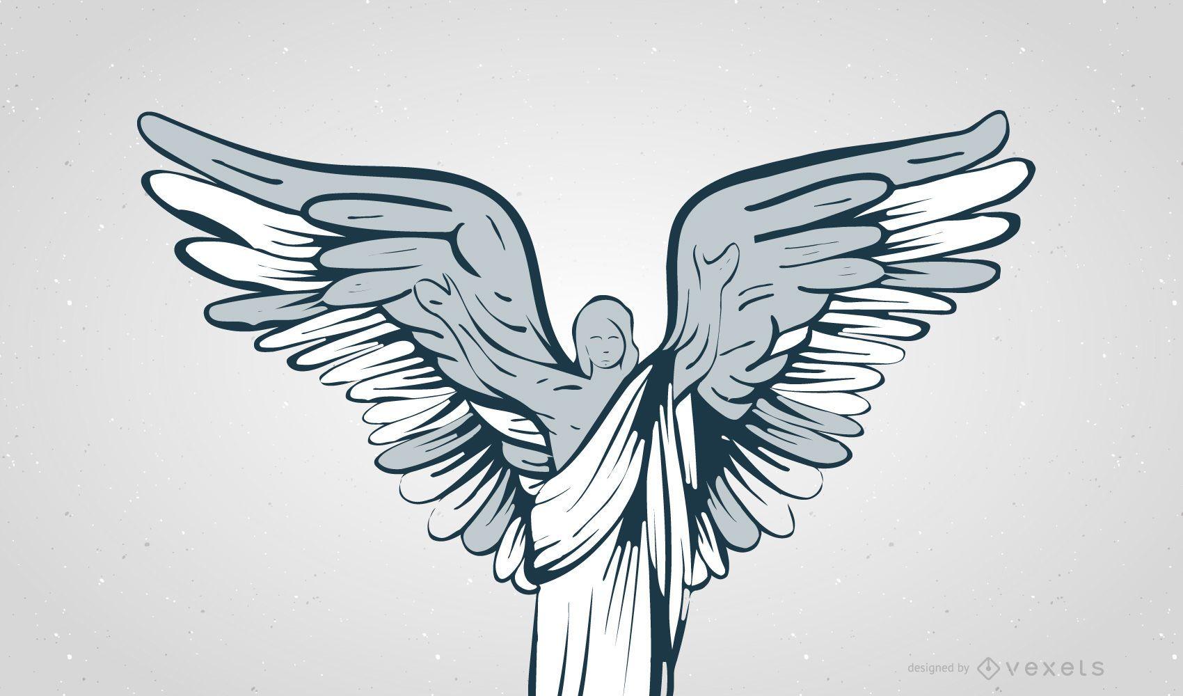 VINTAGE WINGED ANGEL VECTORS