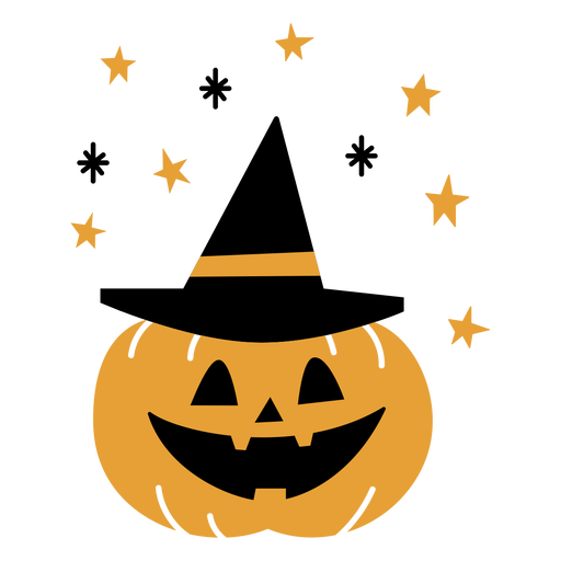Pumpkin with witch hat flat