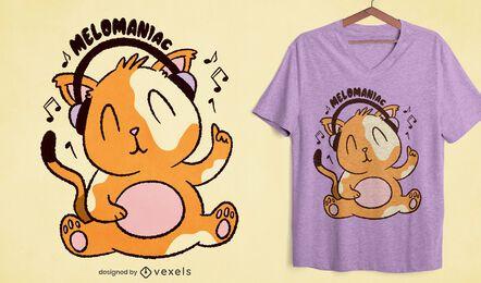 Gato com fones de ouvido com desenho de camiseta
