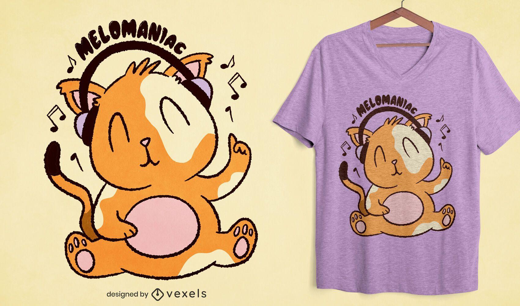 Cat with headphones cartoon t-shirt design