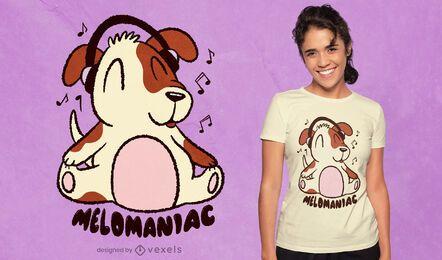 Cão com design de t-shirt de desenho animado com auscultadores