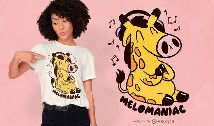 Diseño de camiseta de jirafa amante de la música.