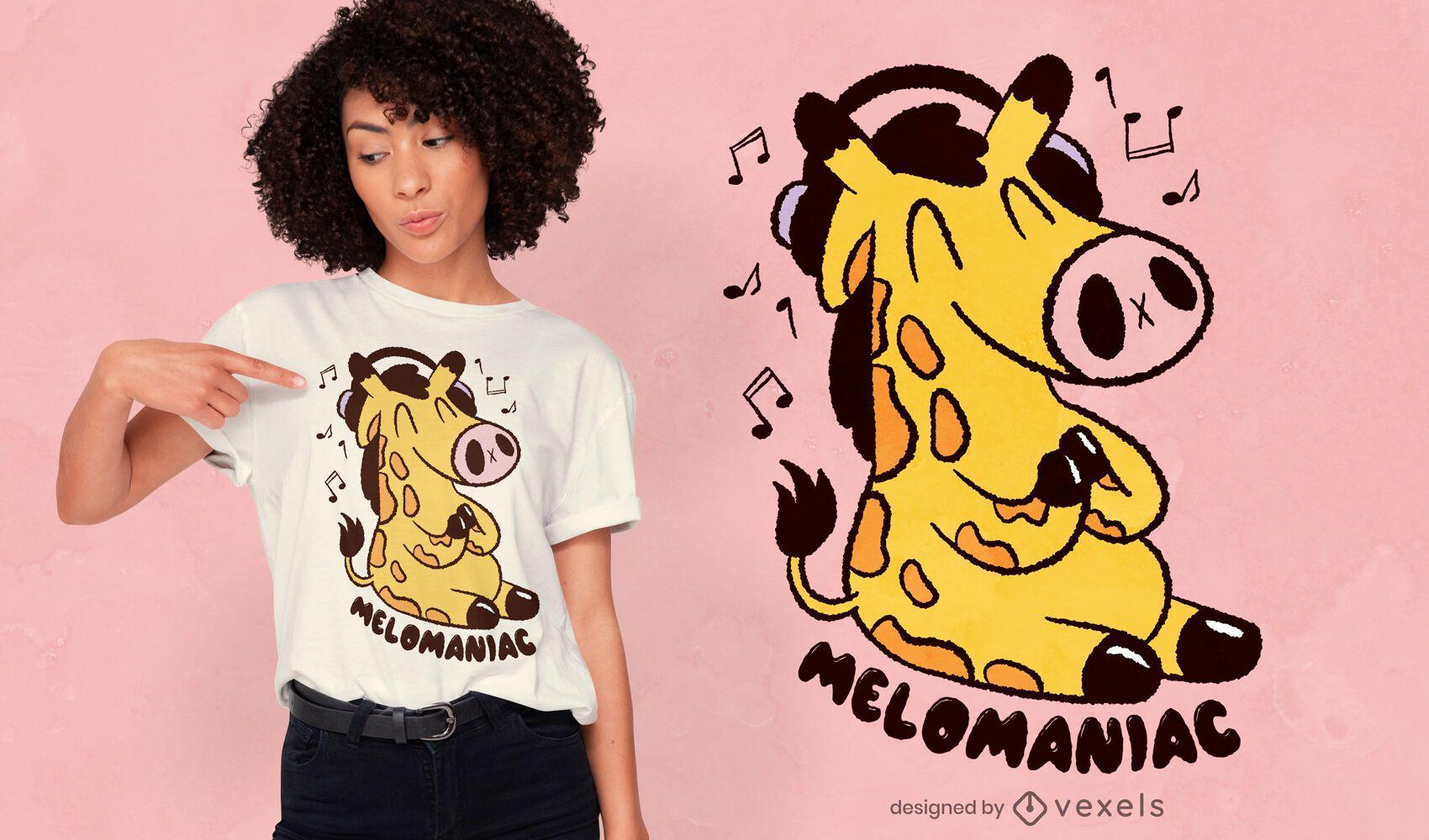 Music lover giraffe t-shirt design