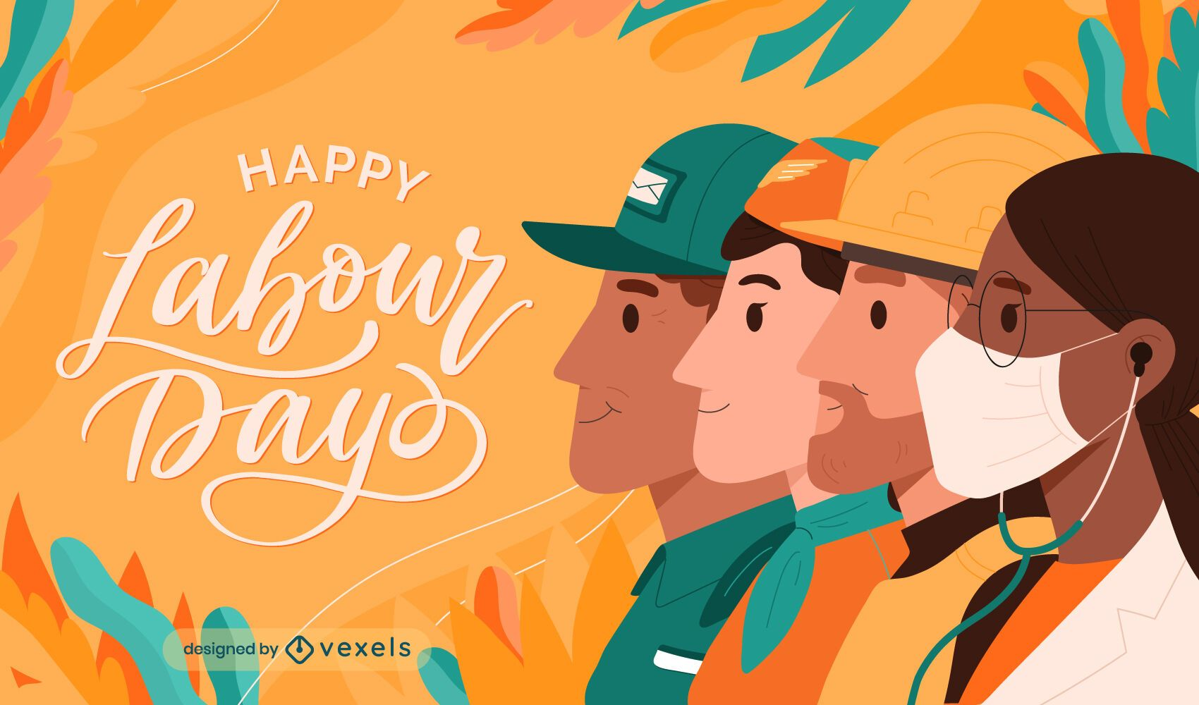 Happy labour day holiday illustration