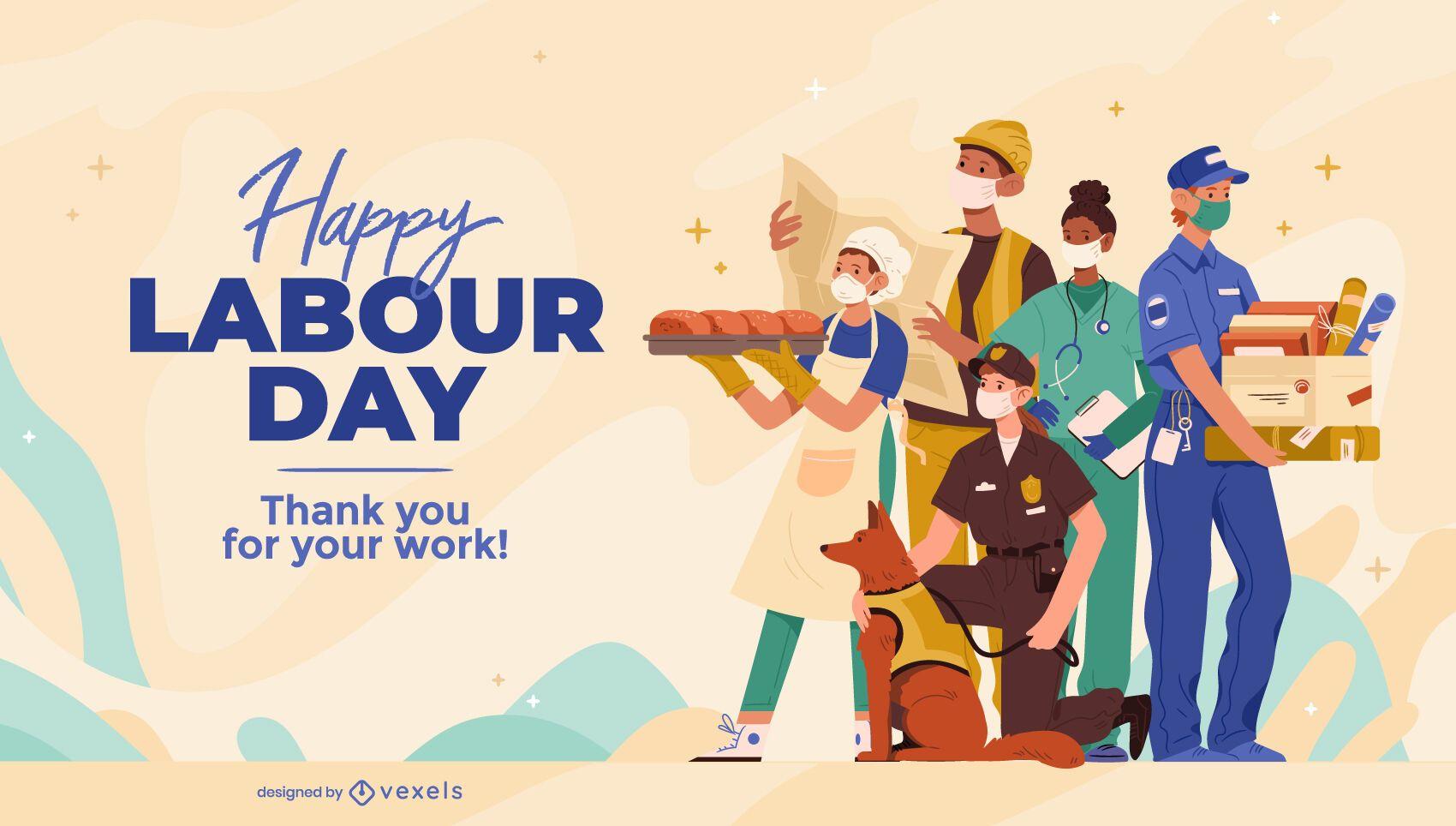 Happy labour day illustration design