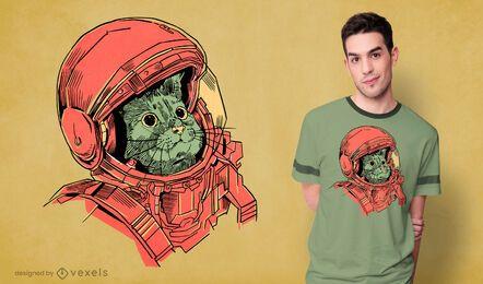 Diseño de camiseta de gato astronauta dibujado a mano