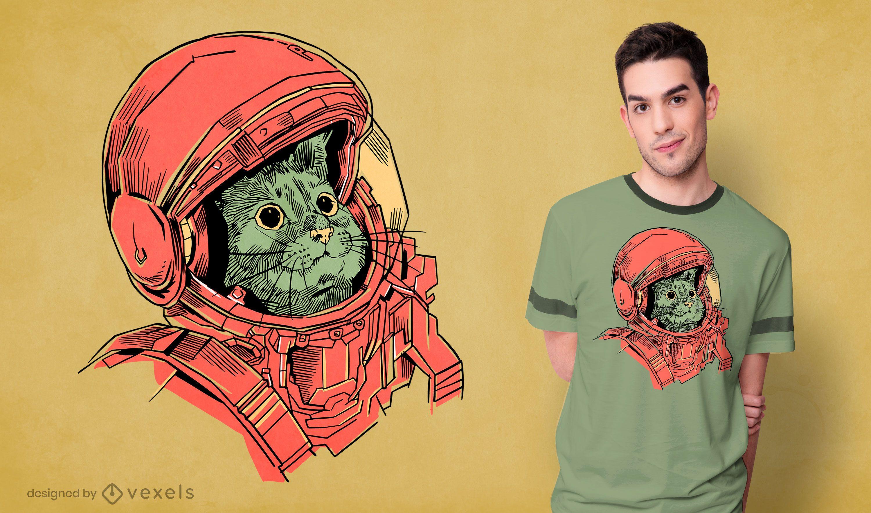 Hand gezeichnetes Astronautenkatzen-T-Shirt Design