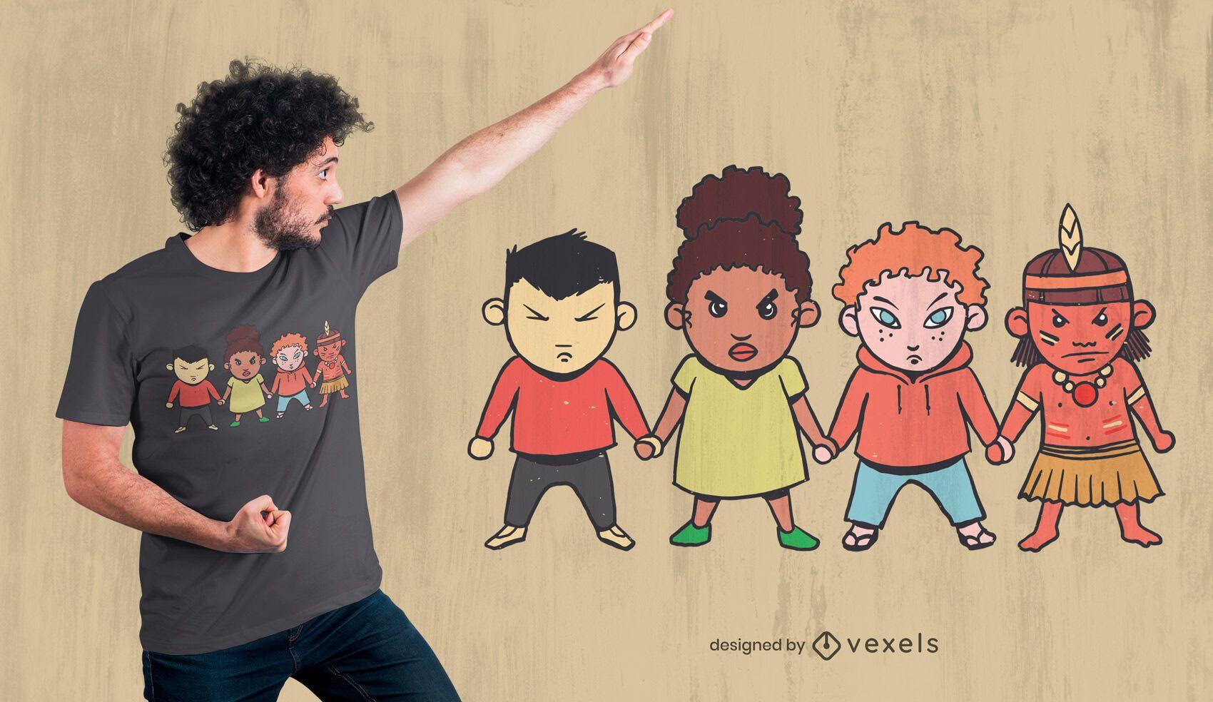 Design de t-shirt de desenho animado para crianças zangadas