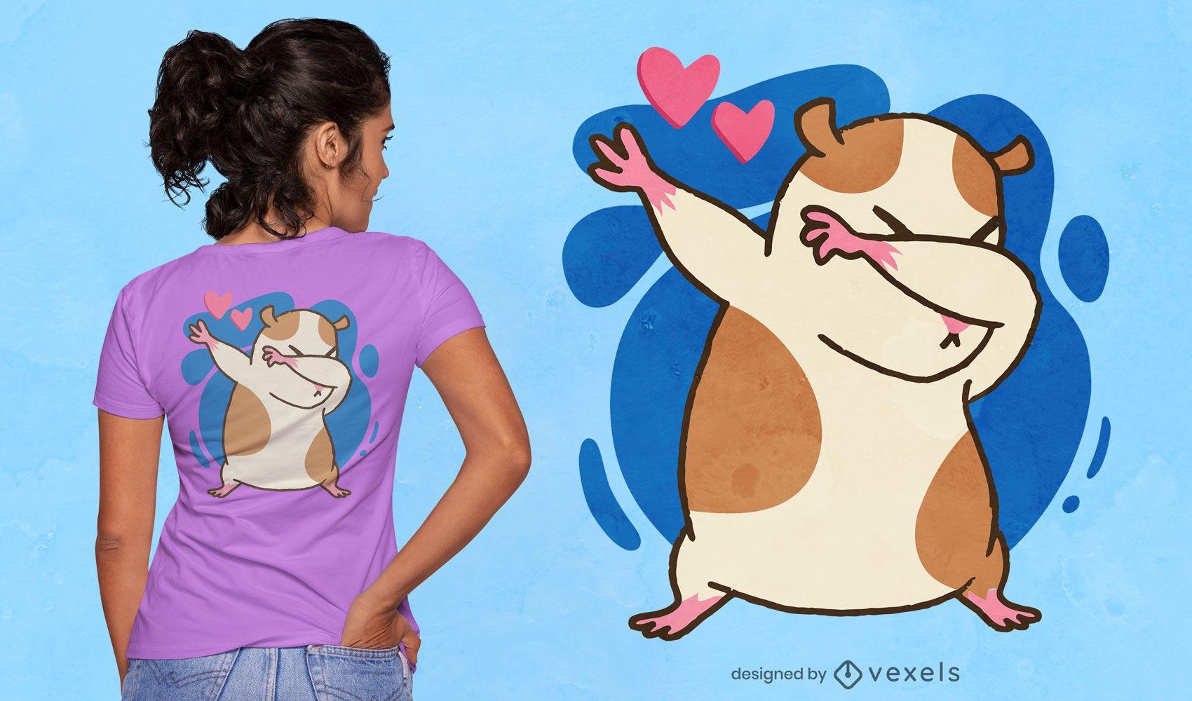 Diseño de camiseta de dibujos animados de hámster dabbing