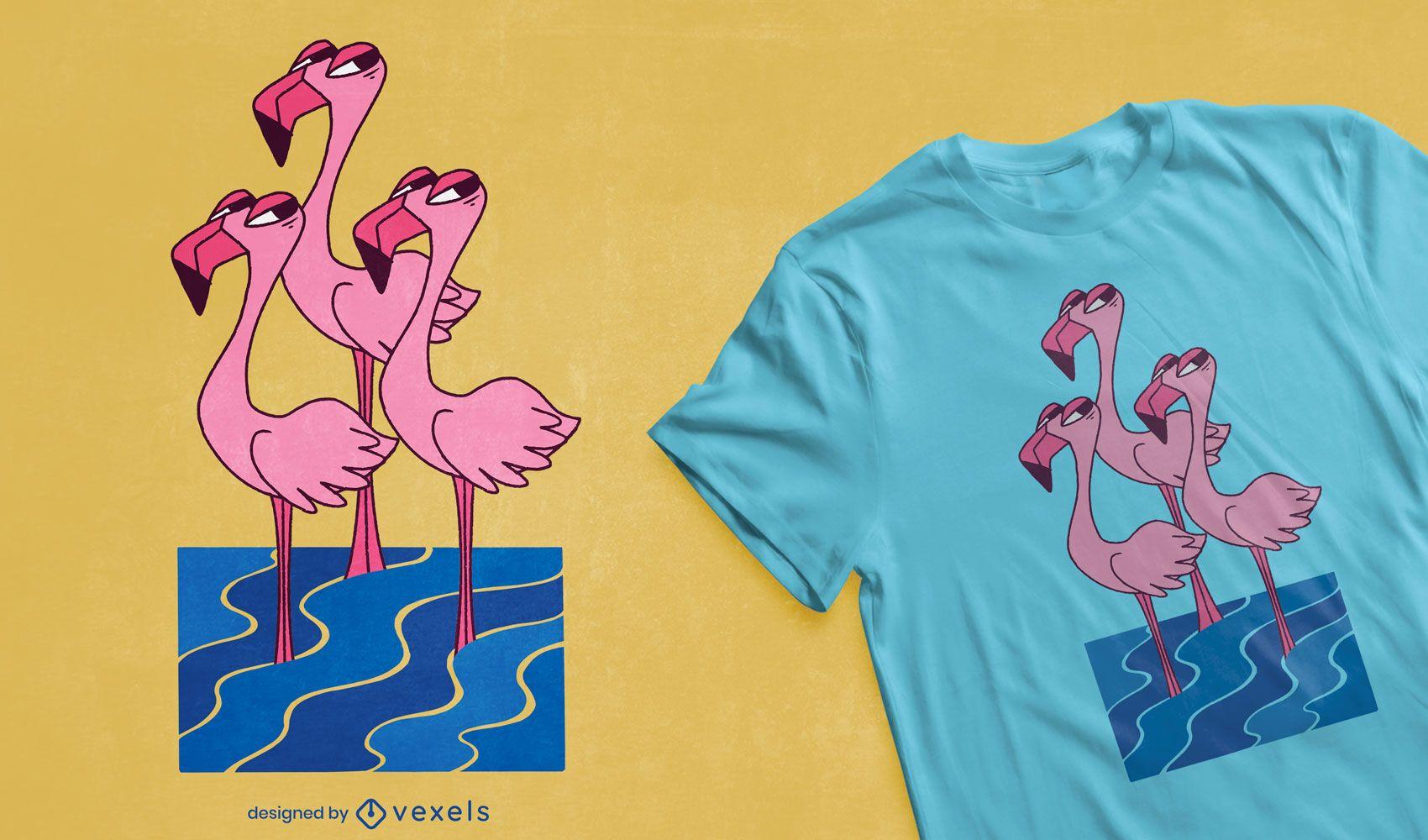 Diseño de camiseta de ojo lateral Flamingo trio