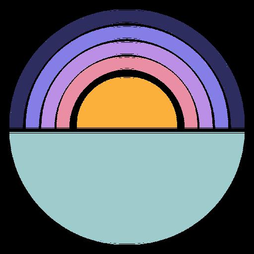Retro sunset half a circle