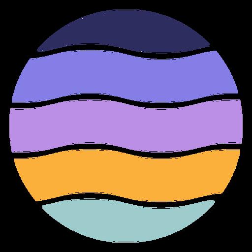 Wavy circle retro sunset