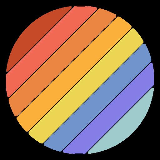 Retro sunset circle diagonal lines