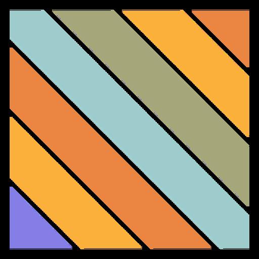 Retro sunset square diagonal lines
