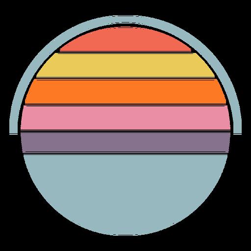 Retro sunset half circle