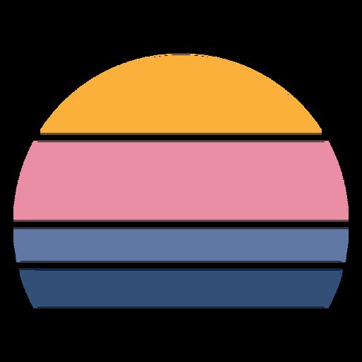 Retro sunset half circle shape