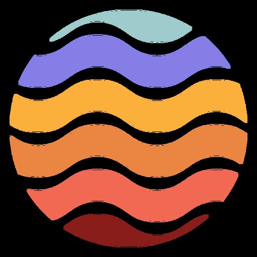 Retro sunset circle wavy lines