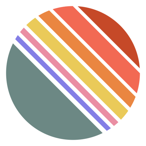 Retro sunset circle shape diagonal