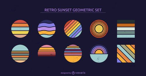 Sunset geometric shapes retro set
