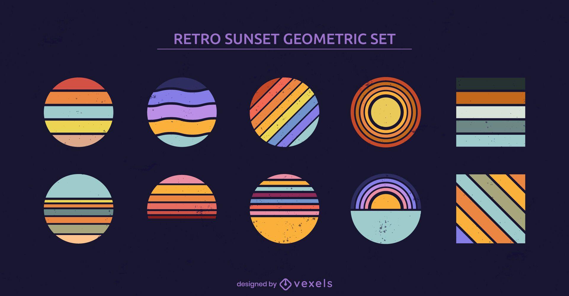 Conjunto retrô de formas geométricas do pôr do sol