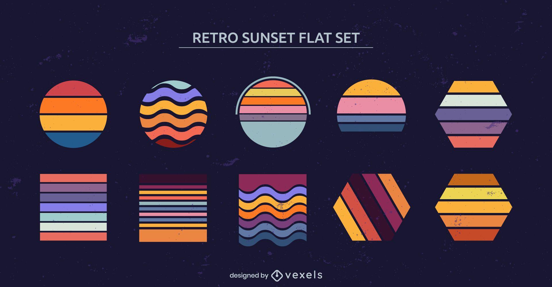 Conjunto de formas geométricas retro puesta de sol