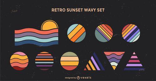 Conjunto de formas geométricas onduladas do pôr do sol retrô
