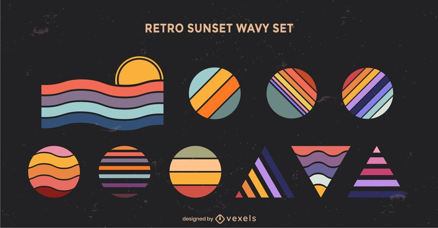 Retro sunset geometric wavy shapes set