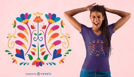 Diseño de camiseta de decoración otomi de flores.