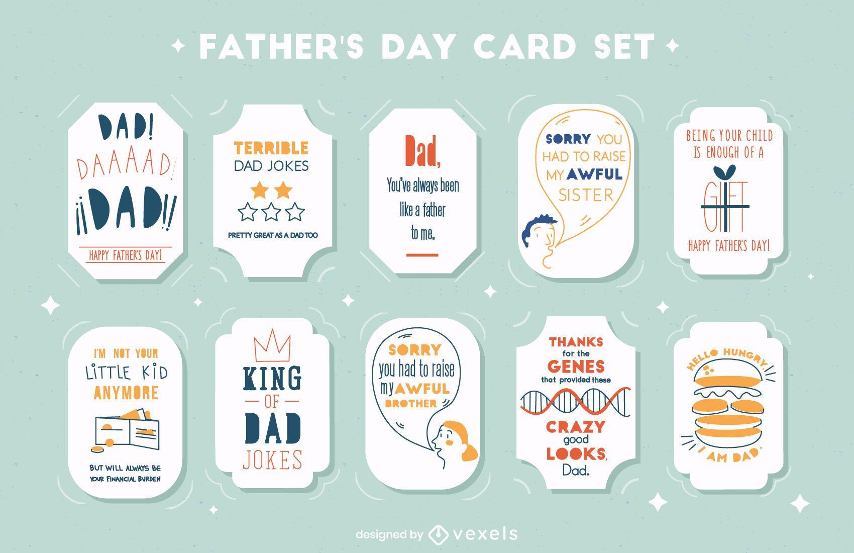 Conjunto de cartão de citações engraçadas do dia dos pais