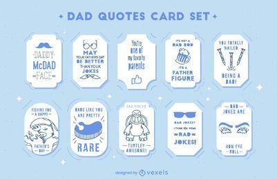 Conjunto de cartões de citações de pai engraçado para dia dos pais