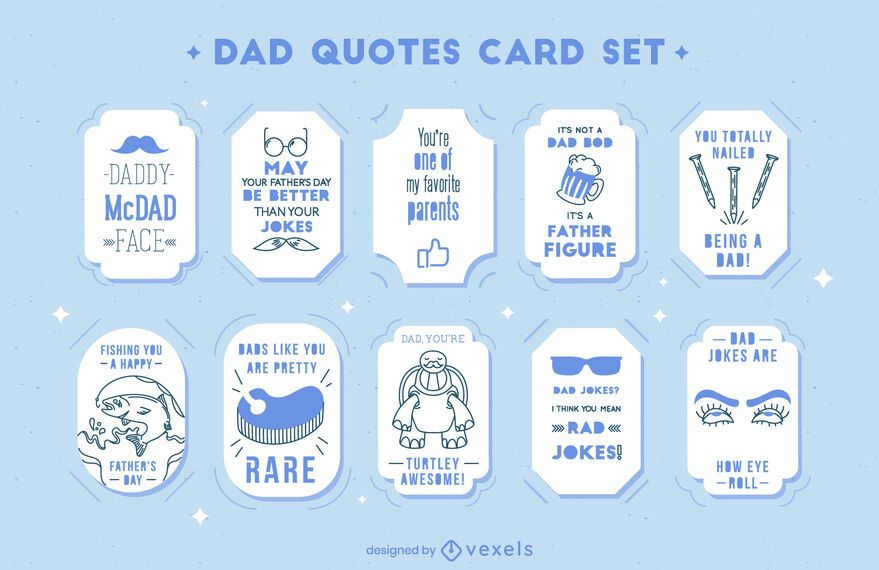 Fathers day funny dad quotes card set