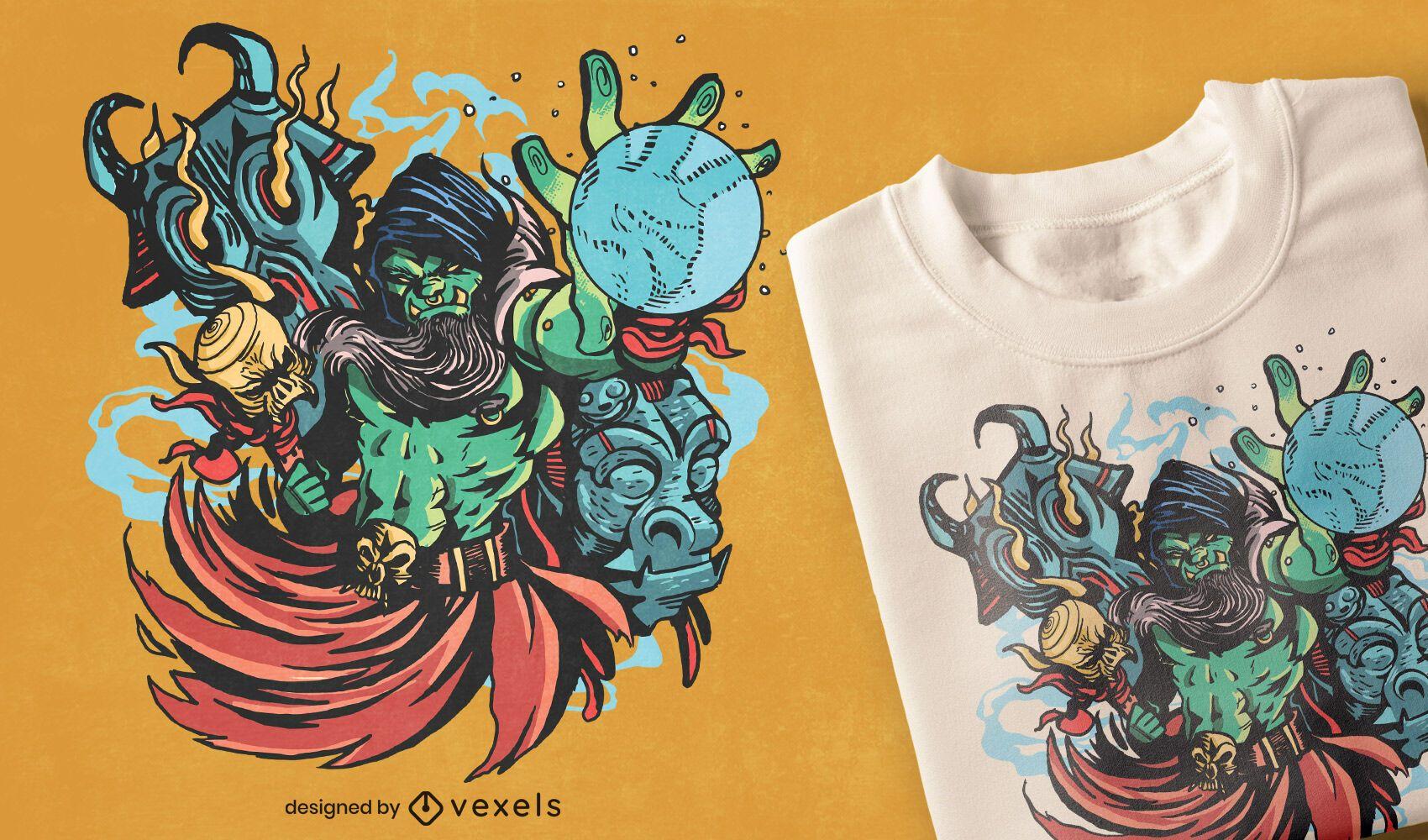 Design de camiseta fantasia Orc chaman