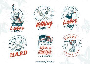 Conjunto de emblemas desenhados à mão no feriado do Dia do Trabalho