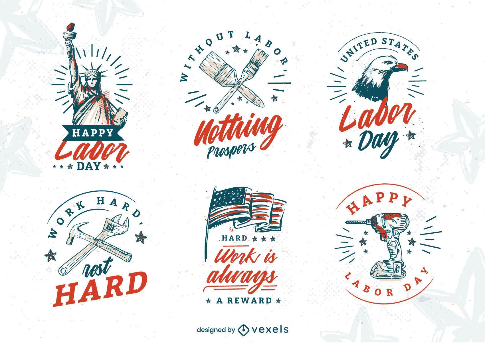 Labor day holiday hand-drawn badges set