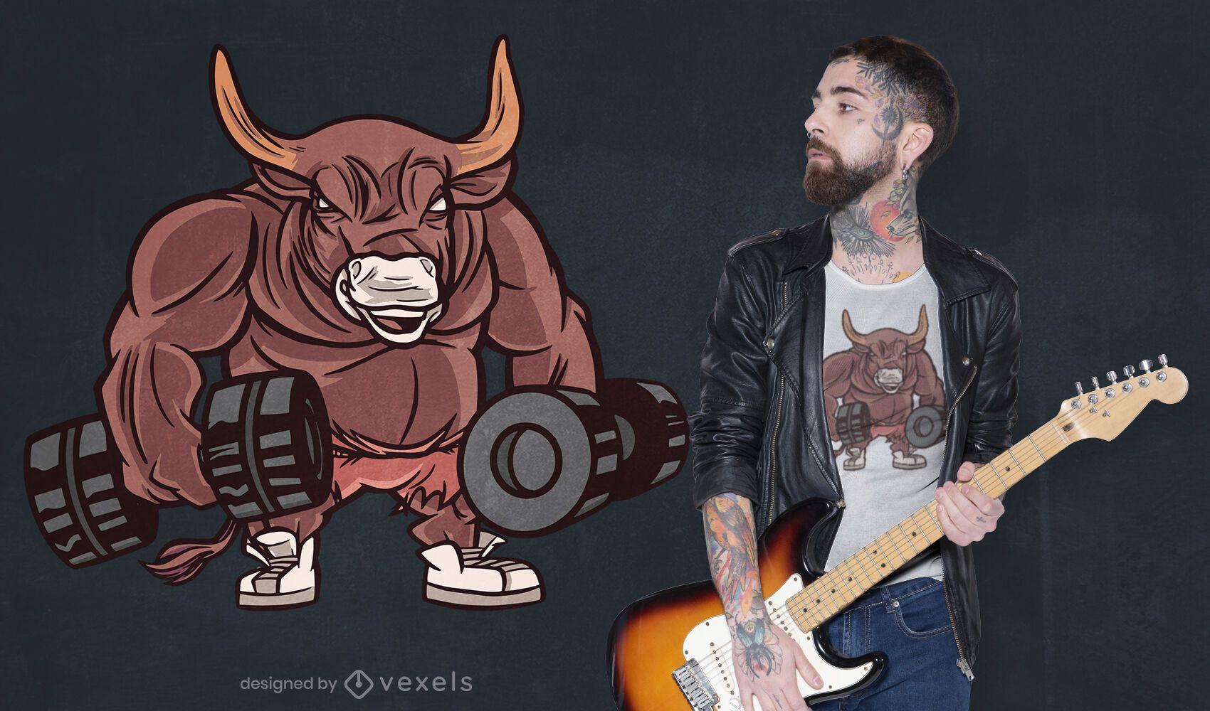 Dumbbell bull t-shirt design