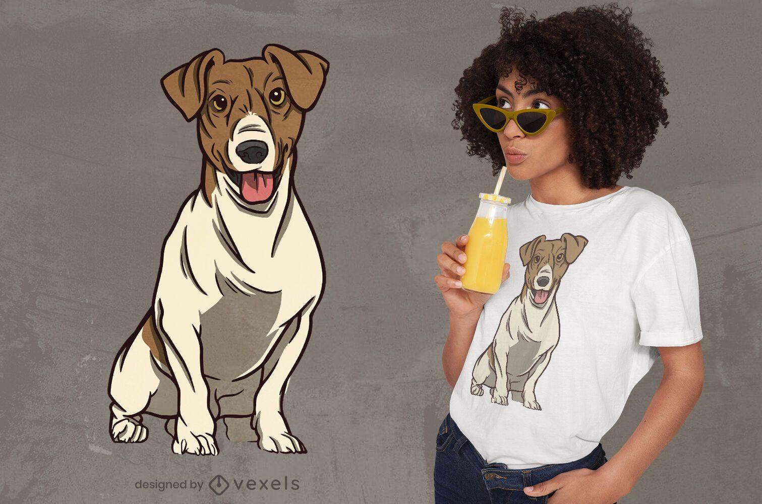 Niedlicher Hund, der T-Shirt Design sitzt