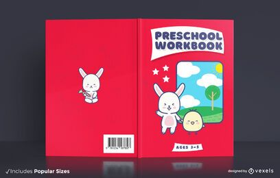 Diseño de portada de libro de trabajo preescolar