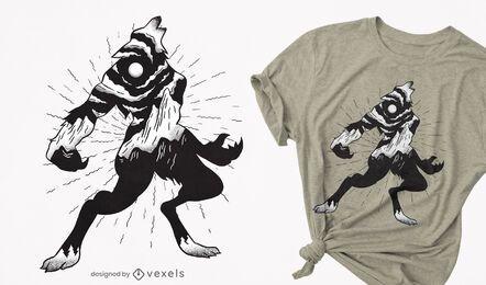 Diseño de camiseta de paisaje de hombre lobo.
