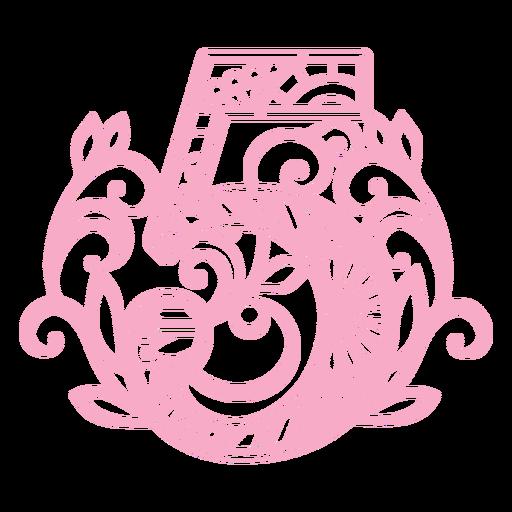 Pretty number 5 mandala design