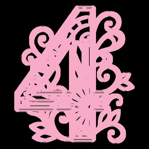 Pretty number 4 mandala design