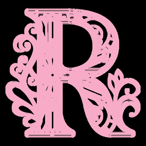 R letter floral alphabet