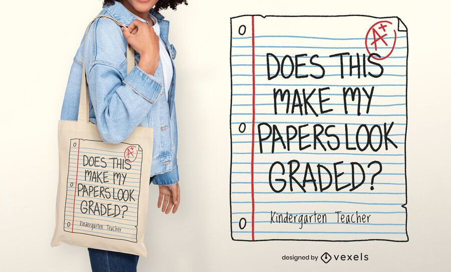Graded papers tote bag design