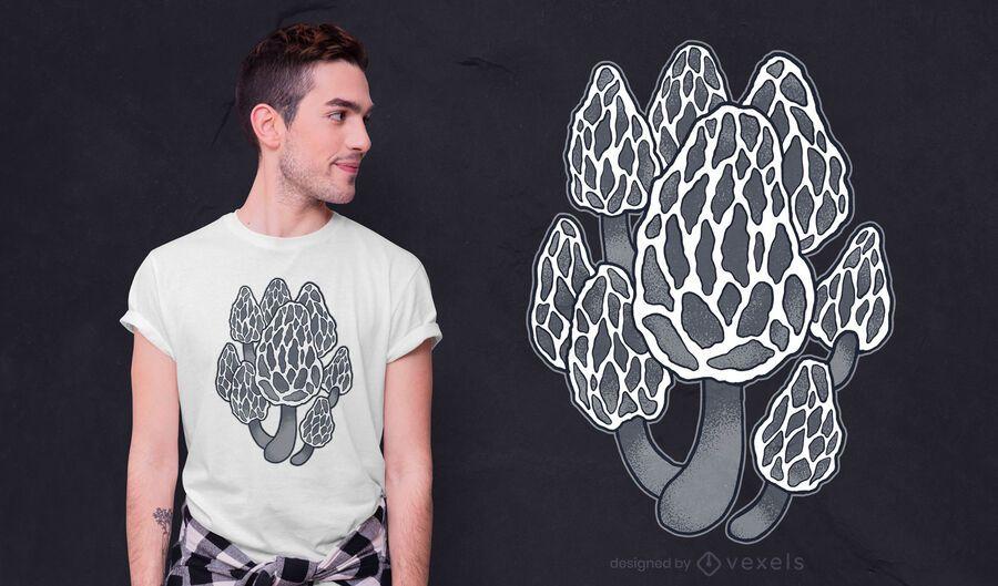 Diseño de camiseta de hongos morel negro