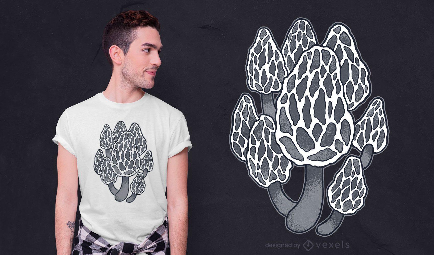 Design de t-shirt de cogumelos morel pretos