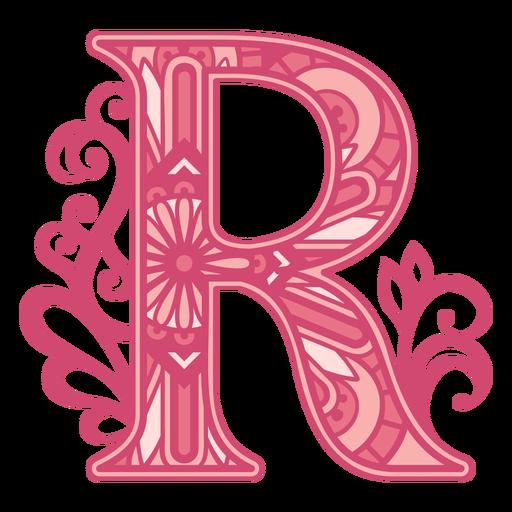 Letter R  pink alphabet mandala