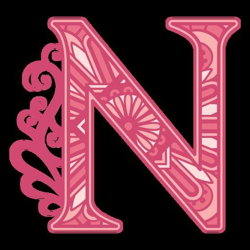 Pink letter N mandala alphabet