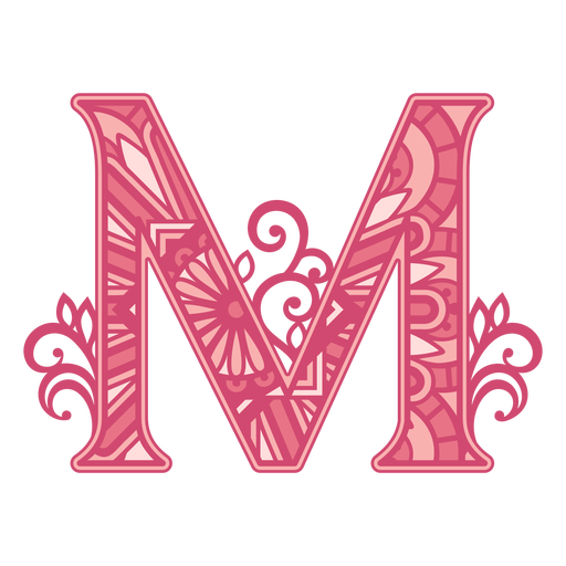 Pink letter M mandala alphabet