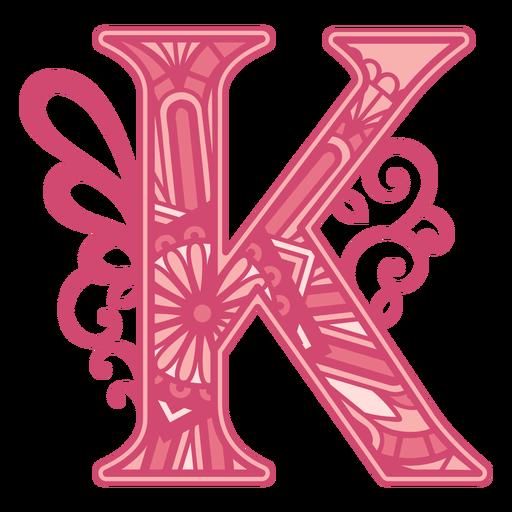 Pink letter K mandala alphabet